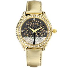 Time100 Ladies Wishing Tree Diamond Golden Leather Strap Fashion WatchW50022L02A * Read more reviews of the product by visiting the link on the image.Note:It is affiliate link to Amazon.