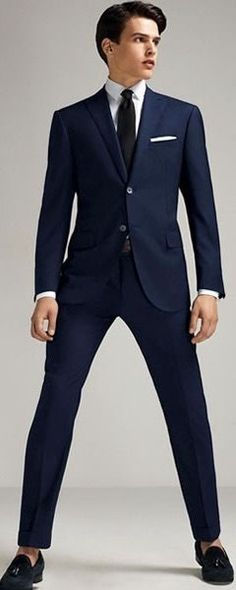 Slim Fit Three Piece Blue Suit