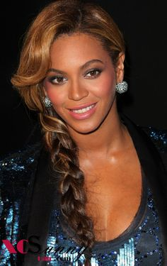 Holiday Hairstyles For Black and African American Women, one-side braid with bang, Beyonce
