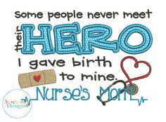 Nurse's Mom Applique Design -In Hoop sizes 5x7, 7x7 and 9x9- Instant Download - for Embroidery Machines