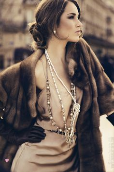 mink, pearls & opera gloves