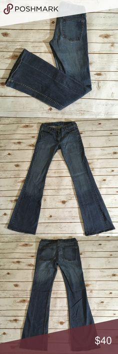 """French Connection Fcuk flare jeans French Connection Fcuk flare jeans 🌟Size- Women's 6  🌟Flat Measurements- 14"""" waist 7.5"""" rise 33"""" inseam 🌟Material- Fabric content tag quite faded, I believe it is 95% cotton 5% spandex. These do have stretch to them. 🌟Condition- other than tag fading they are in excellent condition. Some very minor wear on bottom of one heel, pictured. No other flaws. French Connection Jeans Flare & Wide Leg"""
