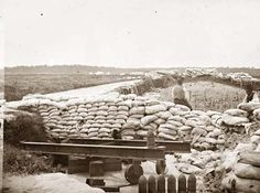 Yorktown, Virginia. Confederate sandbag fortifications