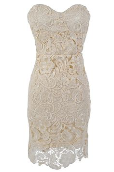 Rehearsal dress....Bella Glamorous Floral Lace Strapless Bustier Dress in Cream
