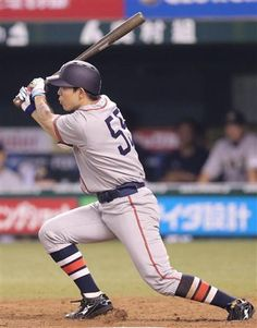 Shougo Akiyama #55, wearing 1936 Tokio Senators throwback jersey, goes 4-for-5 with 2 doubles, scores twice, and drives in 3 runs to lead Lions past Buffaloes 7-0 at Seibu Dome on July 28, 2013 in Lions Classic 2013.