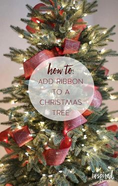 Christmas Tree Ribbon Tutorial - How to Add Ribbon to Your T.- Christmas Tree Ribbon Tutorial – How to Add Ribbon to Your Tree Christmas Tree Ribbon Tutorial – How to Add Ribbon to Your Tree - Christmas Tree Decorations Ribbon, Beautiful Christmas Trees, Christmas Tree Themes, Christmas Wreaths, Christmas Ornaments, Decorated Christmas Trees, How To Decorate Christmas Tree, Christmas Ideas, Christmas Cookies