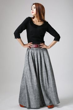 This gray linen maxi skirt gives you defining style and easy blend for many looks. featureing wide banded wasit, with the belt loop , you can wear your
