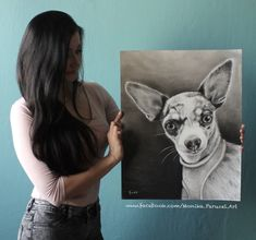 Chihuahua drawing at paper. Size 40x50cm 2017