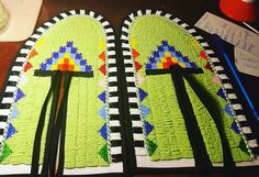 My first pair of beaded mocs I've ever done myself. #beadedmocs #beadwork  #regalia #powwow #culture  #tradition #green #jingledressdancer