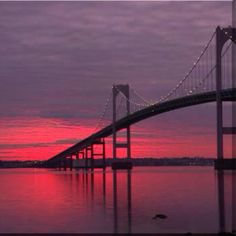 The Newport Bridge at sunset.