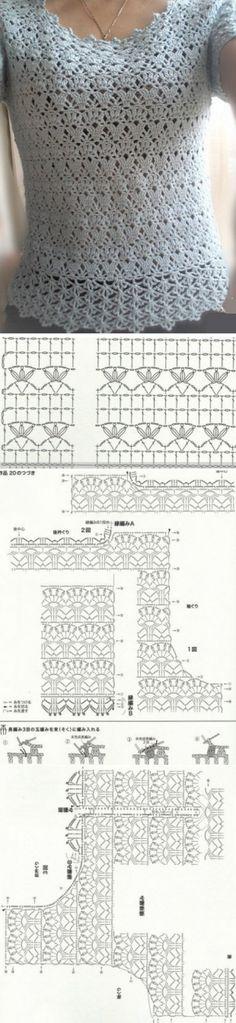 Blusa em crochê, com decote redondo e mangas curtas (com gráfico)