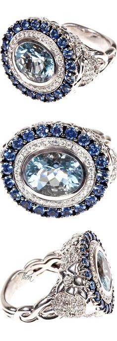 Jade Jagger ● Diamond, aquamarine, sapphire & gold ring