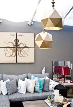Breathtaking Living Room Light Colors Blue Shade Walls Grey Fabric Letter L Sofa Grey Wall Golden Decorative Pendant Lamp