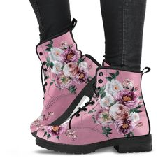 Goth Boots, Pink Boots, White Boots, Women's Boots, Pink And White Flowers, Pink White, Leather Lace Up Boots, Vegan Leather, Blush Pink