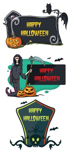 free Happy Halloween Signs | Pixaroma | We extract aroma from pixels.