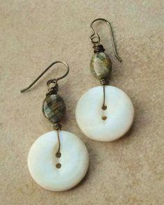 Vintage Mother of Pearl buttons earrings Czech Glass Vintaj Brass