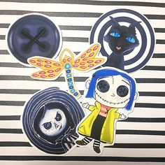 Coraline Sticker Pack of 5 | Etsy Coraline Doll, Coraline Jones, Black And White Stickers, 9th Birthday, Hallows Eve, Sticker Paper, Packing, Scrapbook, Fan Art
