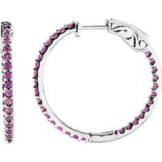 14kt White Pink Sapphire Hoop Earrings