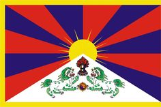 """""""Snow Lion Flag"""", the flag of Tibet. The Tibetan flag, introduced by the Dalai Lama in was designed with the help of a Japanese priest. The traditional Tibetan symbols are displayed in the. Rising Sun Flag, Fu Dog, Religion, New Chinese, Tibetan Buddhism, Tibetan Art, Tibetan Symbols, Tibet, Scrappy Quilts"""