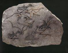 Ostracon figuré biface : animaux et trône - 19e 20e dyn 1295-1069 av JC. L'art du contour - Le dessin dans l'Égypte ancienne.