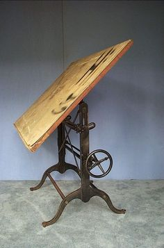 Vtg Cast Iron Drafting Table Architect Drawing Antique Artist Chair Machinist