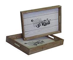 Set de 2 bandejas de madera - blanco y natural