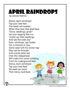 6 printable kids poems for the Month of April celebrating crazy weather and spring. Spring Poems For Kids, Poetry For Kids, Funny Poems For Kids, Kids Poems, First Grade Poems, April Poems, Rain Poems, Silverstein Poems, Spring Books