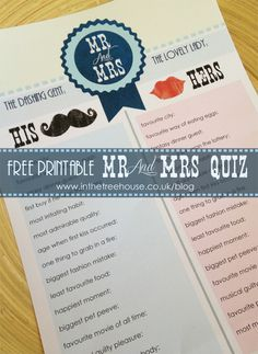 Mr & Mrs Free Printable Quiz Questions by In the Treehouse