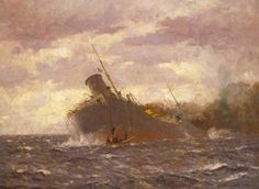 The Crew Reboarding the Tanker 'San Demetrio', 7 November 1940 by Norman Wilkinson IWM (Imperial War Museums) Date painted: 1940