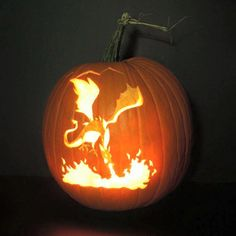 Welsh dragon pumpkin carving-- awesome!