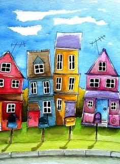 ACEO Print Watercolor Folk Art illustration landscape whimsical home neighbors