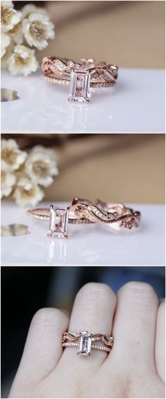 Emerald Cut Solid 14K Rose Gold Morganite Ring Set Morganite Engagement Ring Set Wedding Ring Set / http://www.deerpearlflowers.com/engagement-rings-from-etsy/2/