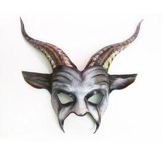 Spooky Goat Mask dark carnival tribal primitive stripey by teonova