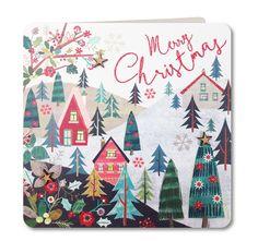 Contemporary Handmade Christmas Card (Christmas Scene)by Laura Darrington Design