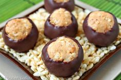 Crunchy Buckeyes are peanut butter balls with crispy rice cereal. They're light and crunchy, and perfect when dipped in chocolate!