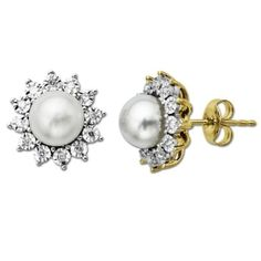10k Yellow Gold Freshwater Cultured Pearl and Diamond-Accent Earrings by earringsly