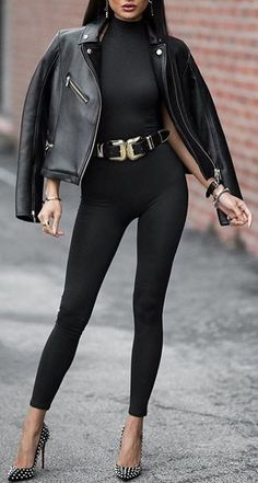 #winter #fashion / Black Bomber Jacket + Black Turtleneck + Black Leggings + Studded Pumps