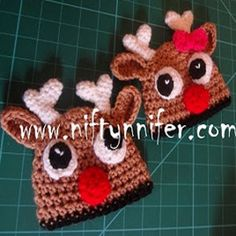 Reindeer Baby Hat - Inspired by a certain red-nosed reindeer, this Reindeer Baby Hat is super cute for the holiday season.