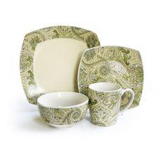 Waverly Green/ Ivory Paisley 16-piece Dinnerware Set | Overstock.com