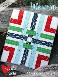 This fat quarter baby quilt can be sewn up in no time! The Woven Pattern Download from Connecting Threads