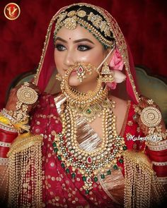 Our real bride is looking stunning in her tradition red outfit, so we went for contrasting glittery eyes with royal jewellery by Indian Wedding Couple Photography, Indian Wedding Bride, Indian Wedding Jewelry, Saree Wedding, Indian Bridal, Bridal Photography, Indian Weddings, Indian Jewelry, Bridal Makeup Looks