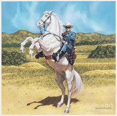 Classic Western hero of early radio, comic books, movies and television, the Lone Ranger astride his wonder horse, Silver. Western Film, Western Art, Forte Apache, Popular Paintings, Western Comics, The Lone Ranger, Adventure Film, Cowboy Art, Thing 1
