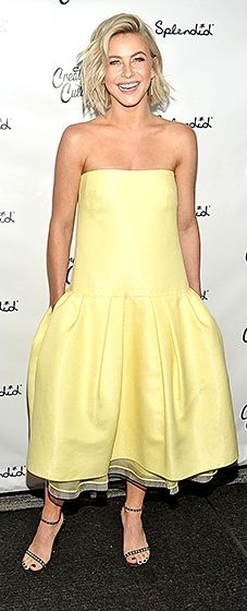 The Dancing With the Stars judge brought a spot of sunshine in a lemon Monique Lhuillier dress with a drop waist, teamed with Tamara Mellon sandals.