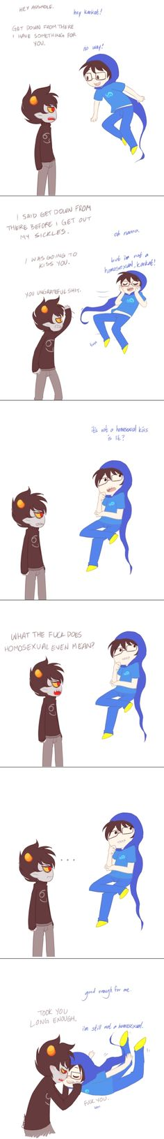"""Tags: Anime, Swearing, Homestuck, Karkat Vantas, God Tier, John Egbert"" He whispered, ""Later"" LOL fangirling."