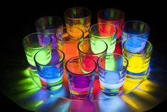 when Vitamin is dissolved in a liquid like a simple syrup, it can cause the solution to glow bright yellow under a black light. Light Alcoholic Drinks, Alcoholic Punch, Easy Cocktails, Cocktail Recipes, Drink Recipes, Cocktail Mixer Set, Neon Food Coloring, Vodka, Blacklight Party