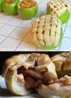 APPLE PIE BAKED IN APPLE 5-6 Apples (can stand)  1 T cinnamon  1/4 c sugar  1 T brown sugar  pie crust  Preheat oven to 375F Cut top off 4 apples Scoop insides with spoon or melon baller but do not puncture peel Save inside for filling Peel & slice thin rest of apples, mix with sugar & cinnamon, adjust as desired Scoop into hollows Top w/ pie crust Put in 8×8 pan with water to cover bottom Cover in foil & bake 20-25 mn Remove foil & bake 20 mn till crust is golden brown and filling soft…