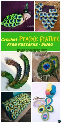 #Crochet #Peacock Feather Free Patterns and Applique Projects: Crochet Peacock blanket, Baby Cocoon outfit, Earrings and More with video. #DIY -->> http://www.diyhowto.org/crochet-peacock-feather-free-patterns/