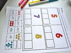 The Moffatt Girls: Number Match! Number Activities, Kids Learning Activities, Kindergarten Math, Teaching Math, Preschool, Teaching Ideas, Number Matching, School Fun, School Ideas