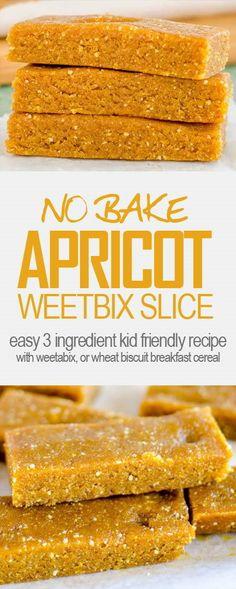 √ No-bake Apricot Weetbix slice Healthy Baking, Healthy Kids, Healthy Snacks, Breakfast Recipes, Dessert Recipes, Desserts, Apricot Slice, Weetbix Slice, No Bake Slices