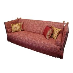 View this item and discover similar for sale at - A new custom knole sofa with old Italian finials and a stunning new upholstery and extravagant tasseled ties. The name Knole comes from Knole house in Sofa Furniture, Furniture Projects, Bolster Pillow, Pillows, Knole Sofa, Georgian Furniture, Antique Sofa, Traditional Sofa, Sofa Upholstery